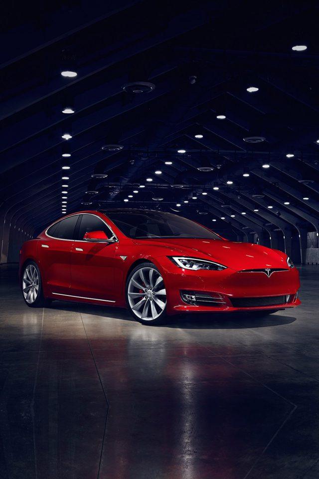 Teslar Model S Red Car Motor Art Iphone 7 Wallpaper