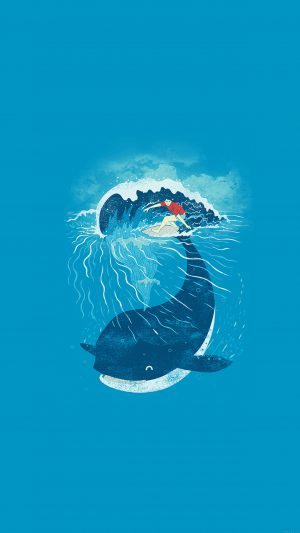 Whale Wave Animal Illust Art Sea iPhone 7 wallpaper