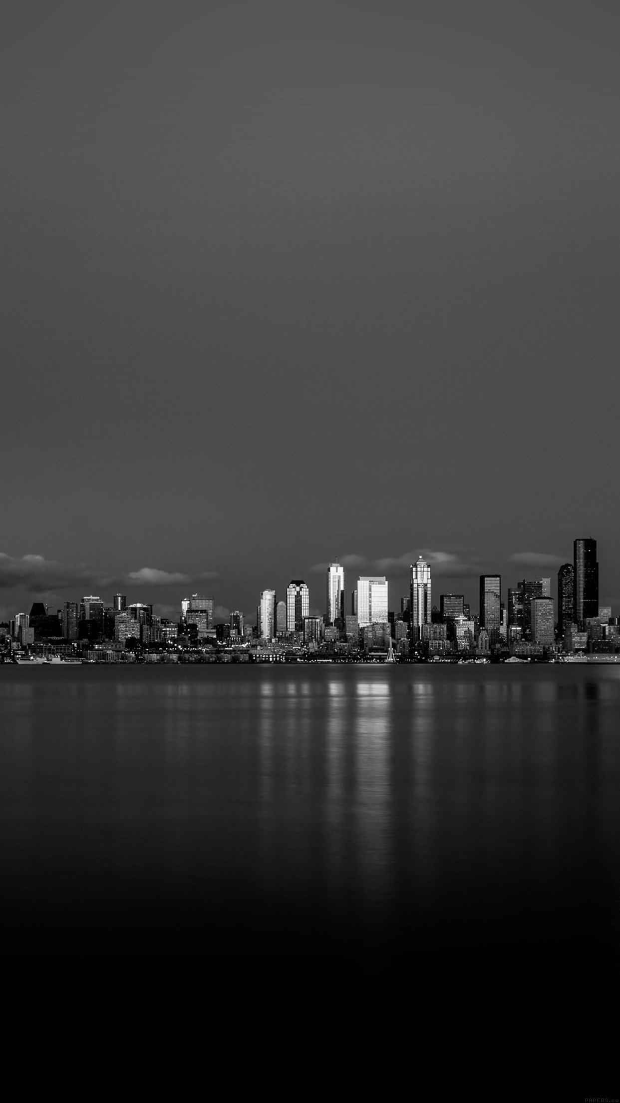 Night City View Dark Bw Nautre Art iPhone wallpaper