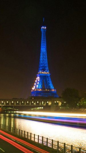 Eiffel Tower In Paris Blue